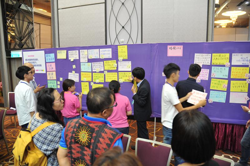 現場一一展示與會者自行訂定的討論主題,其他夥伴從中選出自己有興趣的進行分組討論。