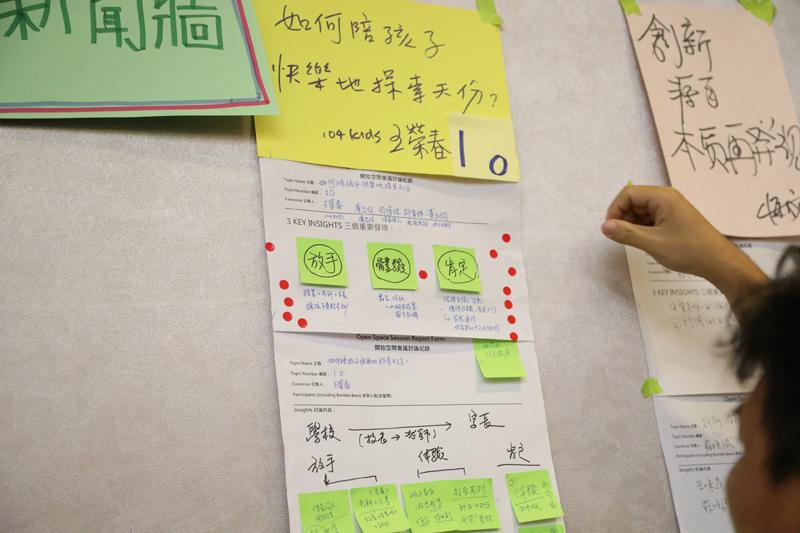 討論結束後,各組將會議記綠貼在新聞牆上,讓所有與會者逐一閱覽並選出想支持的主題。