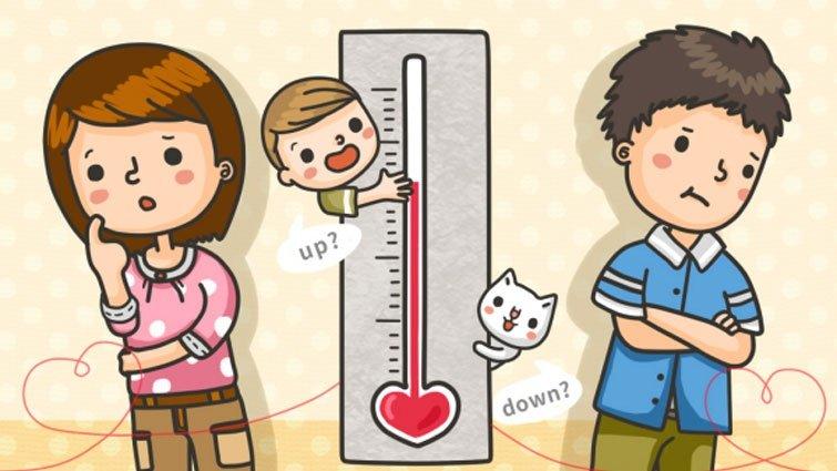孩子讓夫妻的愛情溫度計上升或下降?