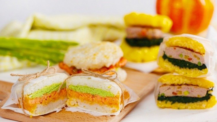 【副食品教學】1歲半快樂寶寶餐!雙口味迷你米漢堡