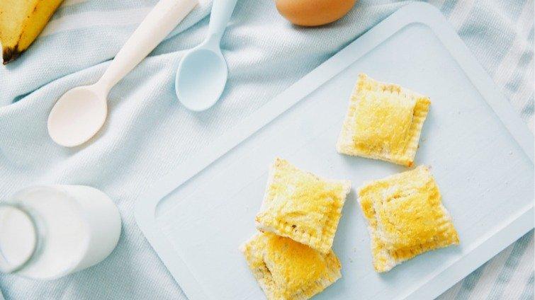 【副食品教學】9~11個月寶寶點心 香蕉吐司派