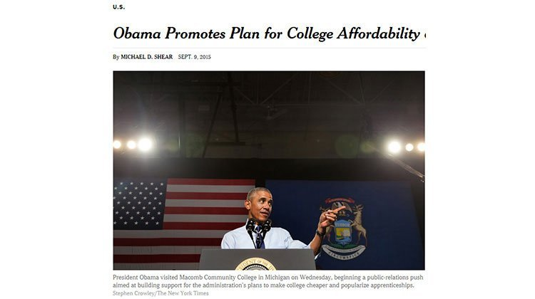 美國學費高漲 歐巴馬推「兩年社區大學免費讀」