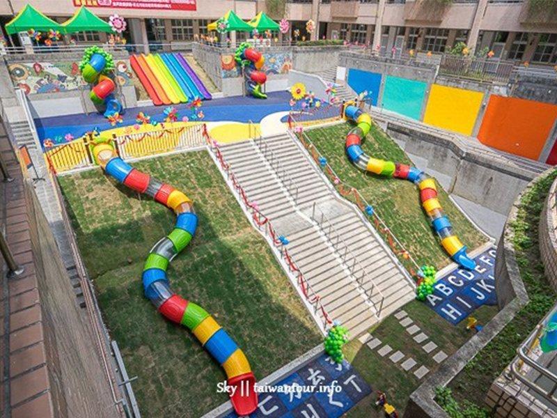 【新北景點】板橋大觀國小:彩虹溜滑梯,主題式溜滑梯樂園